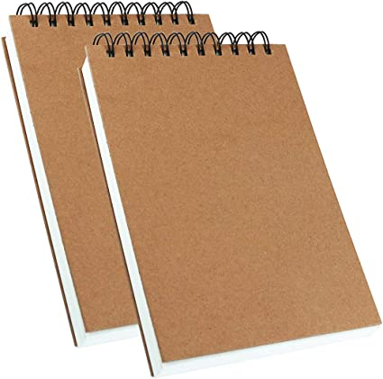 2Pk Sketch Book and Drawing Pad Premium Drawing Paper Books 2 Spiral Notebooks Pads for Artists and Art