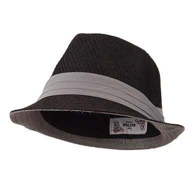 c441dab0fb980 Toyo Fedora Hat with Black Band - Black Grey OSFM at Amazon Men s ...
