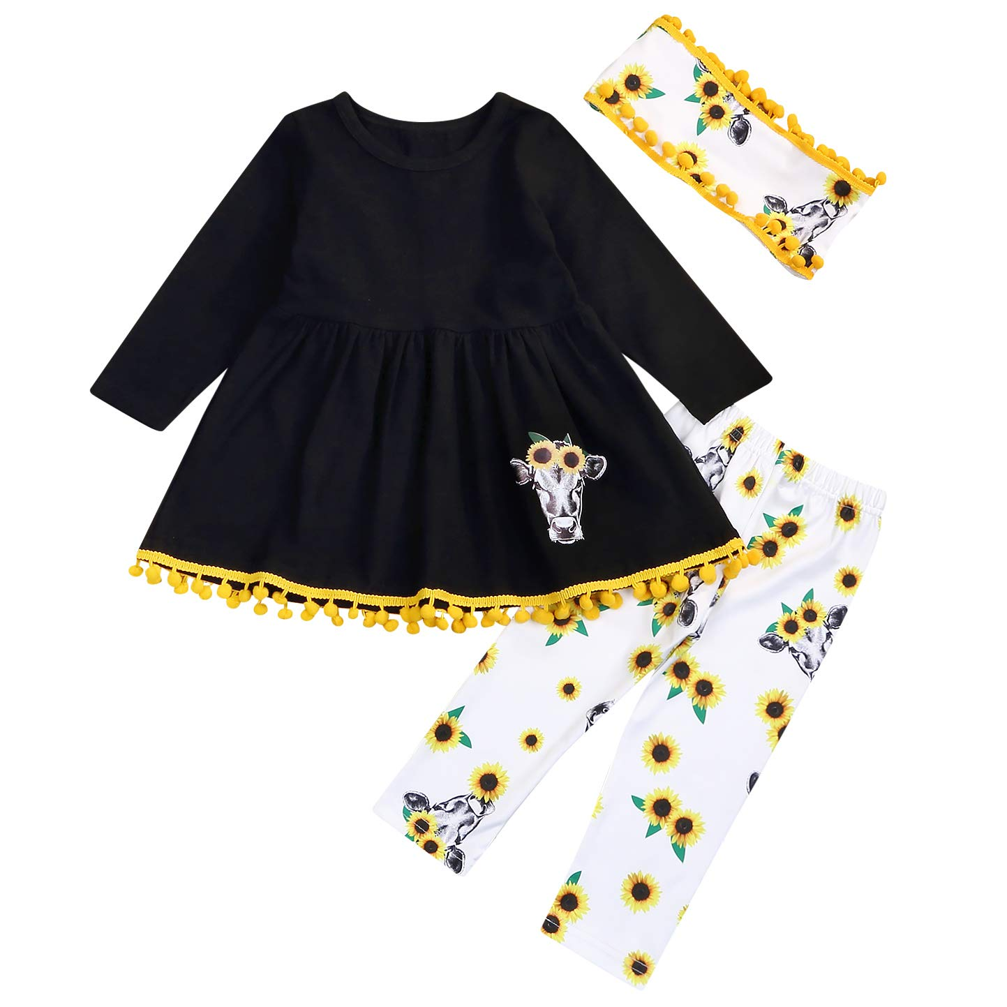 Toddler Baby Girls Fall Winter Clothes Set Long Sleeve Tassel Tunic Dress Tops Pants Scarf 3Pcs Floral Outfit