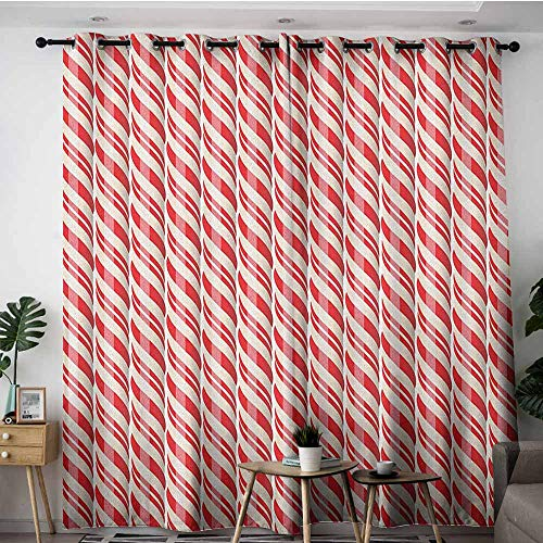 AGONIU Curtains for Bedroom,Candy Cane Red Christmas Candies Pattern with Diagonal Stripes Traditional Winter Sweets,Darkening Thermal Insulated Blackout,W72x108L Red - Stripe Mouse Candy Cane