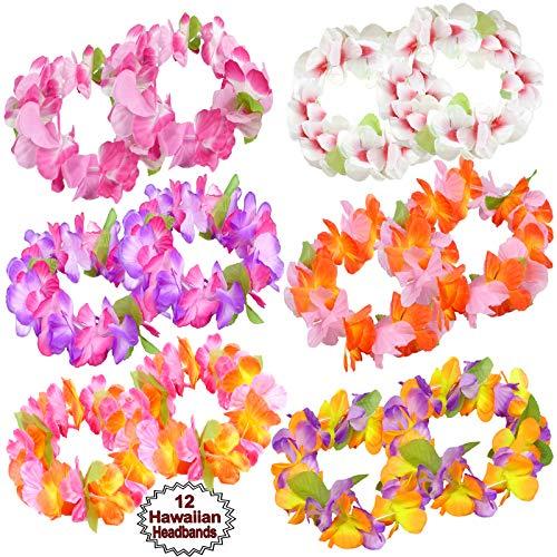 - Hawaiian Headband Flowers | (12 PCS Set) Tropical Head Leis | Luau Floral Headpiece | Flower Headdress Lei, Multi Color | Summer Party Favors | By Anapoliz