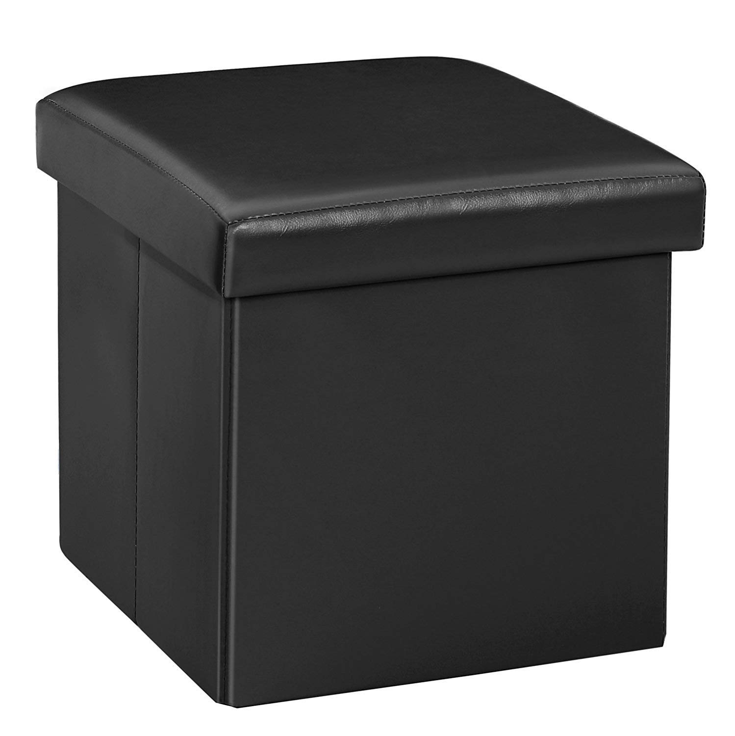 WoneNice Ottoman with Storage, Cube Storage Ottoman Folding Foot Stool, Foot Rest Seat, Clutter Toys Collection,11.8''X11.8'' X11.8'' (Black)