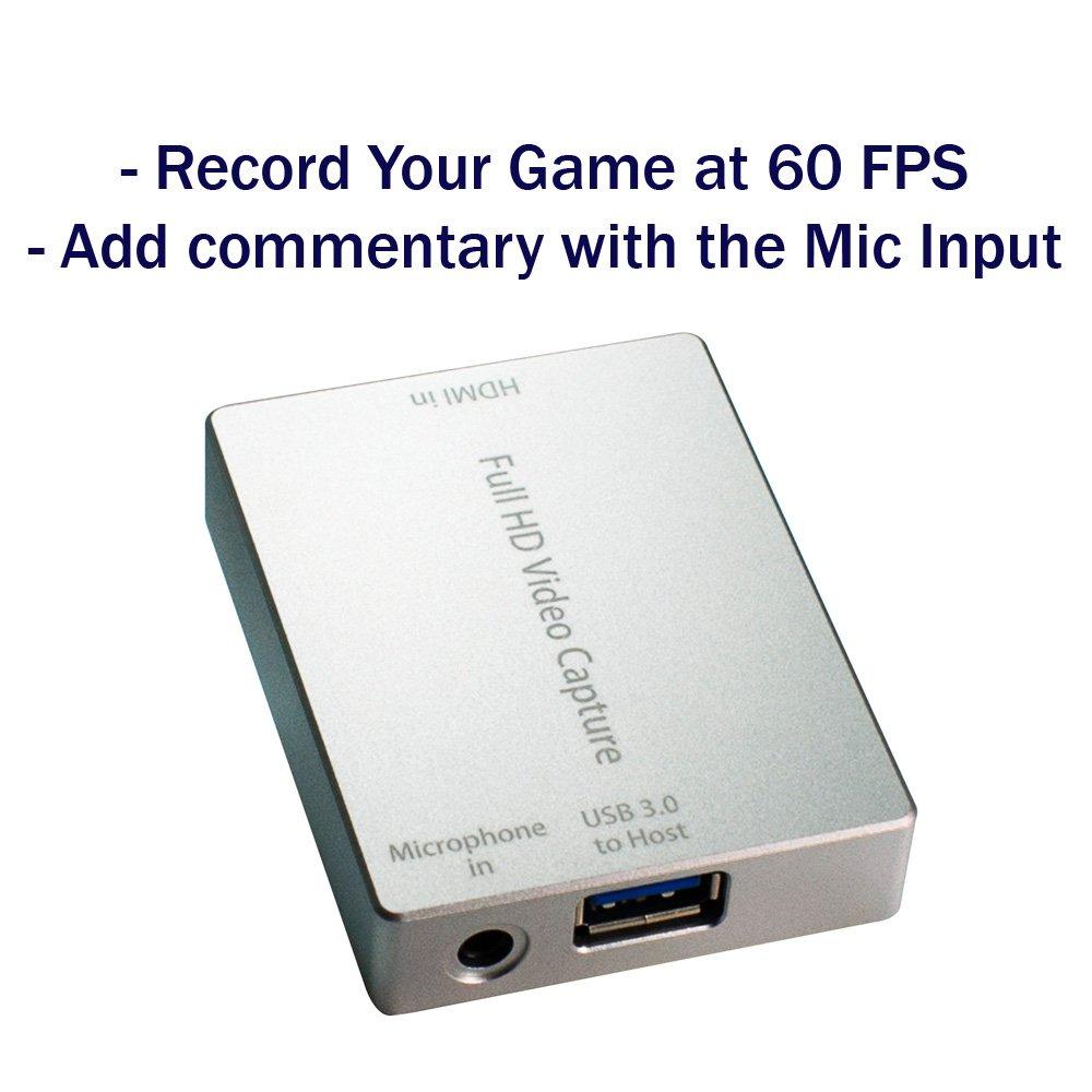 HornetTek HDMI Video Capture Device / Video Game Recorder with Mic Input USB 3.0 1080P 60 FPS Video & Audio Grabber by HornetTek (Image #1)
