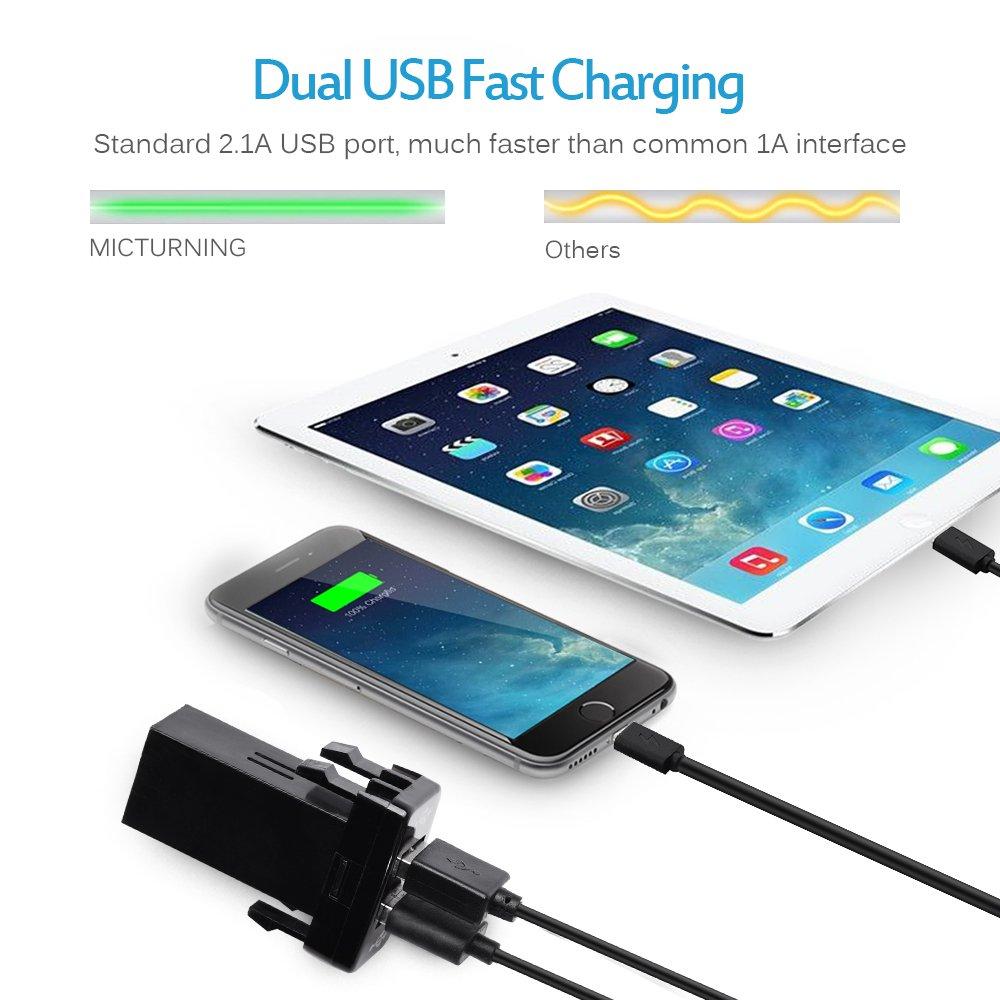 Amazon.com: MICTUNING UC001 2.1A Dual USB Power Socket for Smart ...