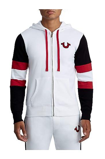 fa2dc0055 True Religion Men's Stripe Buddha Zip Up Paneled Hoodie Sweatshirt  (X-Large, White