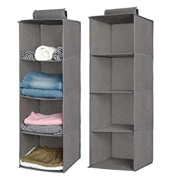 Aoolife Closet Hanging Shelves Organizer,Linen Cloth,Light and Breathable Collapsible Hanging Closet Organizer for Sock 3 Shelf- 2 Pack Toys and More Bra Clothes