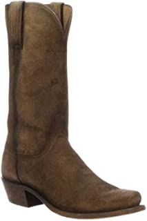 product image for Lucchese Men's Livingston Cognac Suede Western Boot Narrow Square Toe - N1700.74