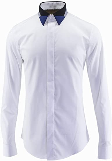 Nuevo Cuello Negro Gris Azul Color a Juego Camisa de Hombre ...