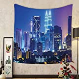 Gzhihine Custom tapestry Landscape Tapestry Modern Scenery Image with Kuala Lumpur India Cityscape Skyscrapers Artwork Print for Bedroom Living Room Dorm 60 W X 40 L Multicolor