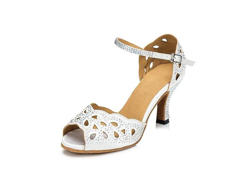 blancheeled7.5cm UK3.5 EU34 Our35 Jchaussures Cristaux Féminins Sparking Satin Latin Salsa Chaussures De Danse   Tango   Chacha   Samba   Moderne   Chaussures De Jazz Sandales Talons Hauts,noirheeled5CM-UK3.5 EU34 Our35