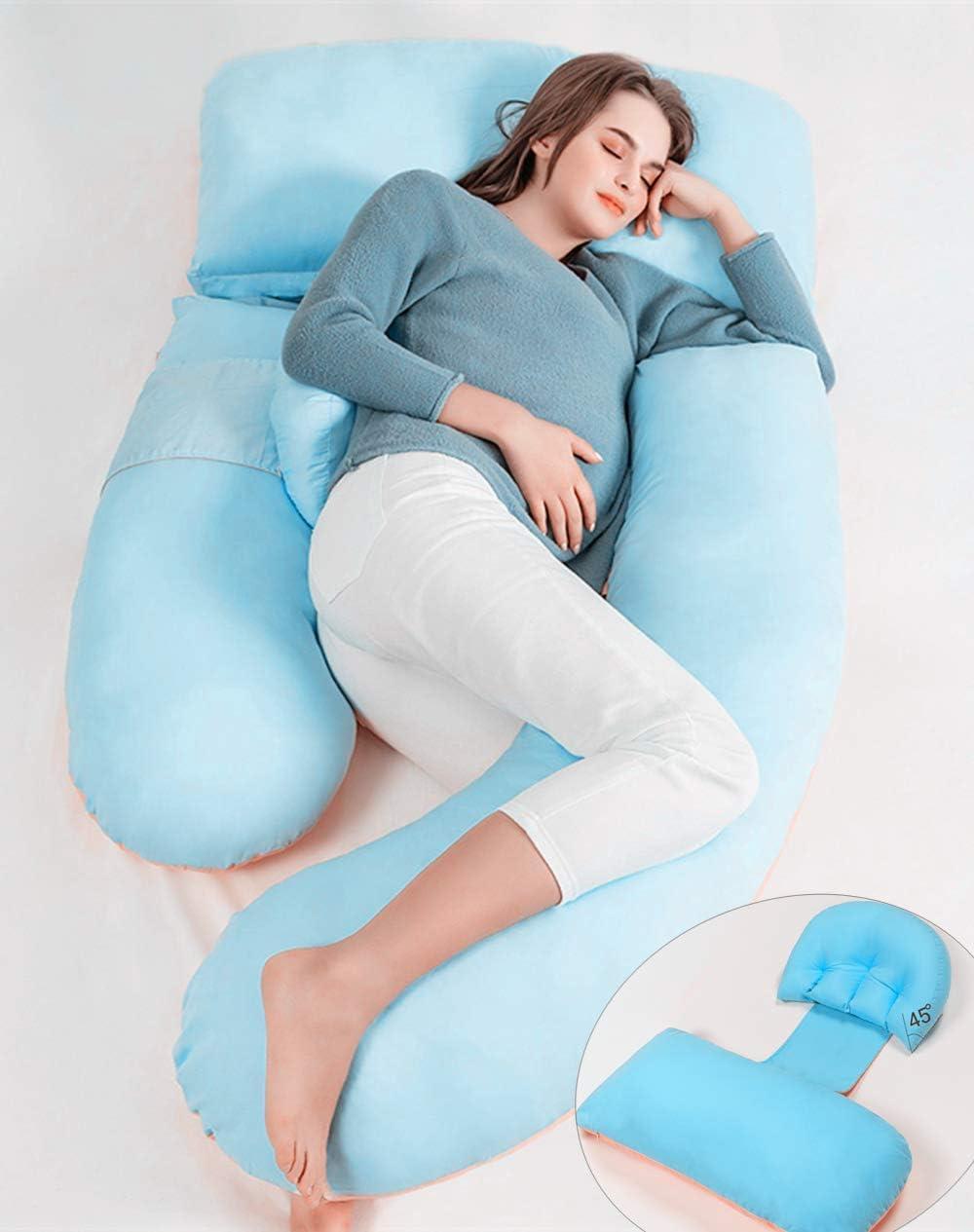 Azul AiLa Almohada de Embarazo en Forma de G-Almohada de Maternidad Ajustable de Cuerpo Completo-Posici/ón del Vientre Inclinada 140cm