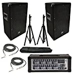 "(2) Harmony HA-V10P 10"" DJ PA Speaker Peavey PVi 8B Powered Mixer Cables Stands from Harmony Audio"