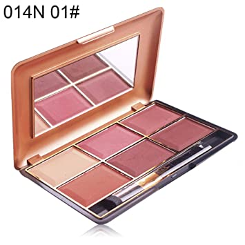 Blush Palette gLoaSublim 6 Colors Women Cheek Blusher Blush Powder Palette Makeup Cosmetic with Brush - 014N 01#
