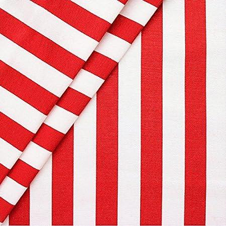 Dekostoff Streifenstoff Baumwollstoff Blockstreifen weiß rot 1,6m Breite