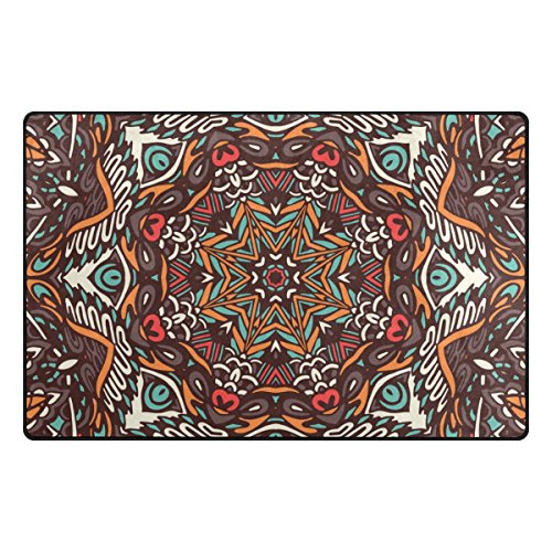 La Random Abstract Mosaic Bohemian Style Area Rug 31x20 Inches Non-Skid Lightweight Rugs for Living Room Bedroom Floor Mats