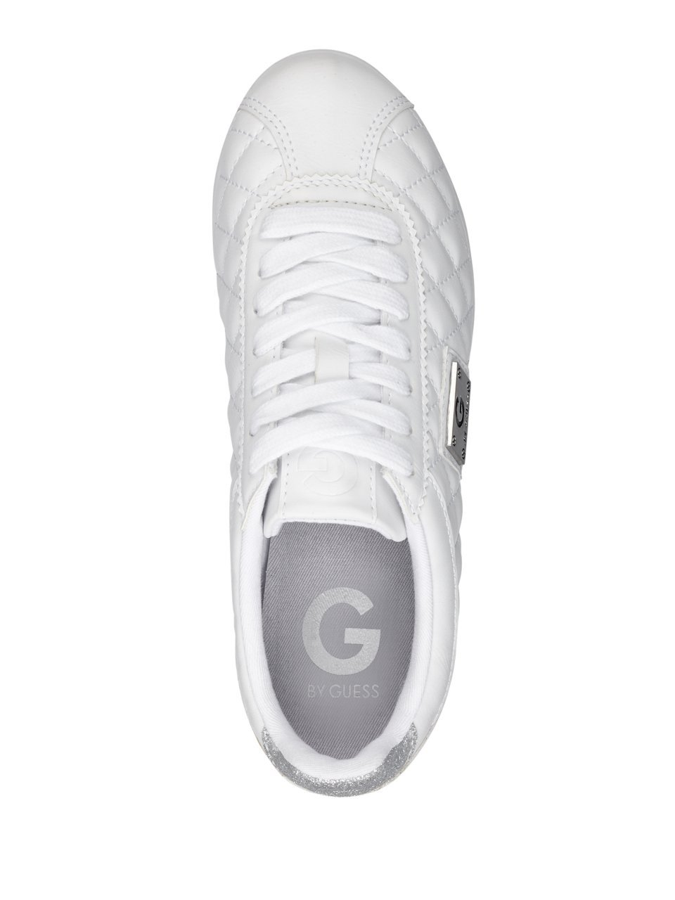 G by GUESS Women's Romio Metallic Quilted Sneakers B07DTRYKPK 7.5 B(M) US|White