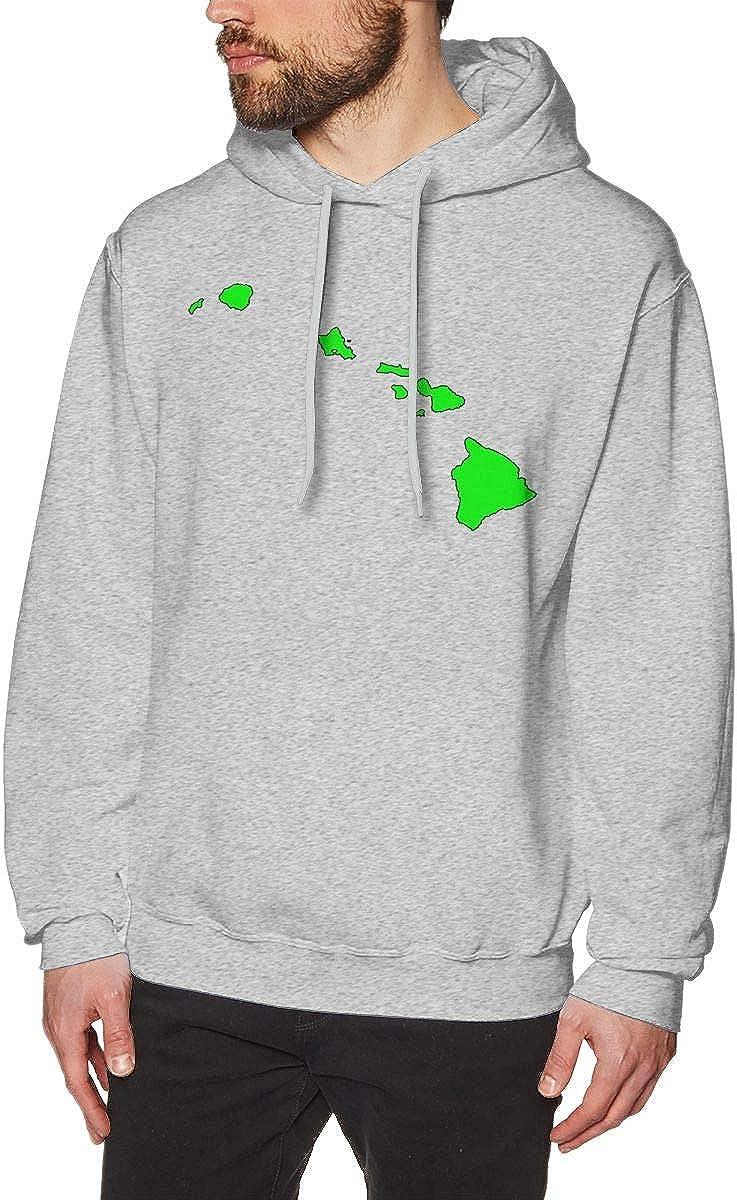 FOECBIR Hawaiian Islands Map Hoody Sweatshirts Cotton Pullover Jacket Mens