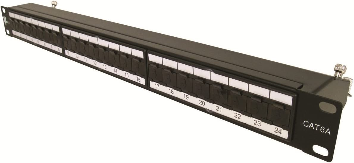 Vertical Cable Cat6A 24 Port Shielded Krone Type 19 Horizontal Rackmount 1U Patch Panel