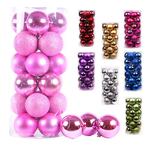 AMS Christmas Ball Ornaments Exquisite Colorful Balls Decorations Pendant Pack of 24pcs (40mm, Pink) ()