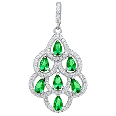 Sterling Silver Pear Emerald Zirconia Pendant Chain Gift Boxed