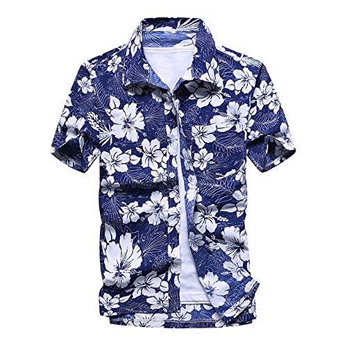 LOG SWIT Men's Summer Hawaiian Shirts Single Breasted Light Beach Shirts Short Sleeve Breathable Shirts Blue Flower XL