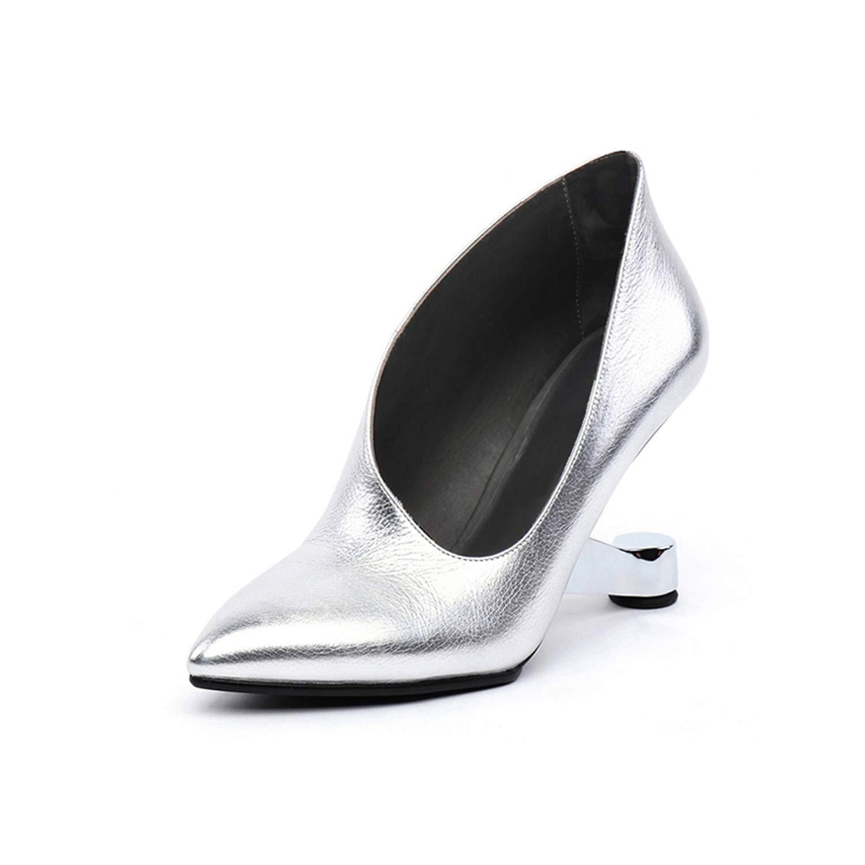 Silver Women shoes High Heel Female Hollowed Strange Heel Genuine Leather High Heel shoes Women Pumps