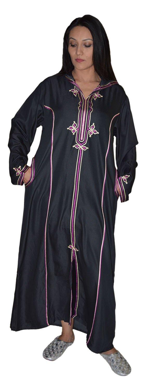 Moroccan Djellaba Hood Caftan Long Sleeve Light Denim Breathable MED to LG Black Treasures Of Morocco Manal Black