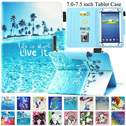 Universal Case for 7.0-7.5 inch Tablet, Artyond PU Leather Magnetic Protect Case with Card Slots Flip Stand Wallet Cover for All 7.0-7.5 inch Kindle, Android, Galaxy Tab, Windows Tablet (Ocean)