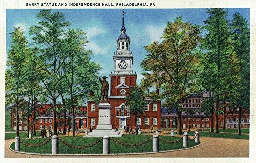 Philadelphia, Pennsylvania - Exterior View of Independence Hall, Barry Statue Art Print, Wall Decor