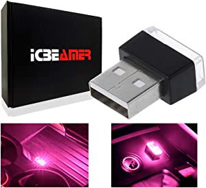 ICBEAMER 1pc Pink Purple Universal USB Interface Plug-in Miniature Night Light LED Car Interior Trunk Ambient Atmosphere