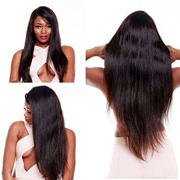 Review R&S 100% 14In Real Virgin Full Lace Human Hair Wigs Especially Lifelike With Baby Hair 130% Density.Front Frontal Best for Black Women 360 Bleached Knots Natural Color Straight Glueless Remy Under