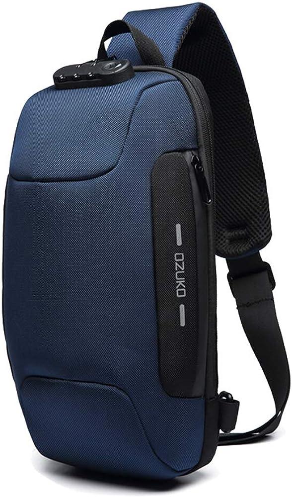OZUKO Sling Backpack USB Anti-Theft Men'S Chest Bag Casual Shoulder Bag