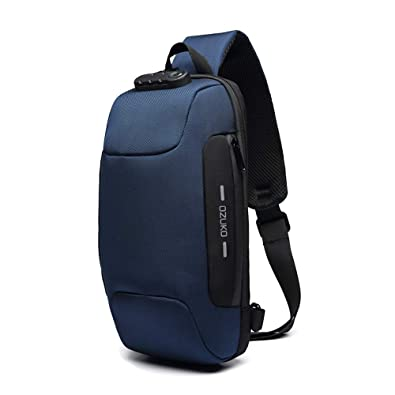 OZUKO Casual Sling Bag, Mochila de Hombro Bolsas de Hombro Impermeable Crossbody Bolsa Sling Pecho Bolsas, Hombres Sport Fitness Chest Bag con Puerto ...