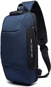 OZUKO Casual Sling Bag, Mochila de Hombro Bolsas de Hombro Impermeable Crossbody Bolsa Sling Pecho Bolsas, Hombres Sport Fitness Chest Bag con Puerto de Carga USB (Azul Oscuro)