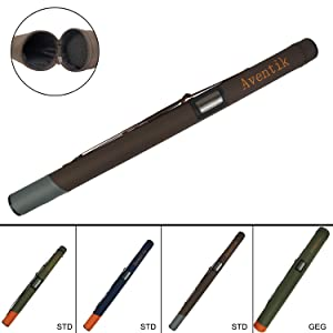 Aventik Hard Cordura Fly Fishing Rod Tube Hard Tops Handle Should Straps Inner Diameter 2.44 inch / 6.2cm, Length 24 inch to 35 inch Fit 9ft/10ft/11ft 4pc Fly Rod