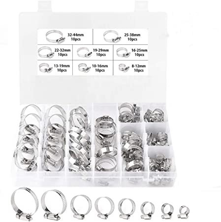 US SHIP 10 PCS Stainless Steel Ear Clamp Stepless Ring Crimp Pinch Auto 25mm