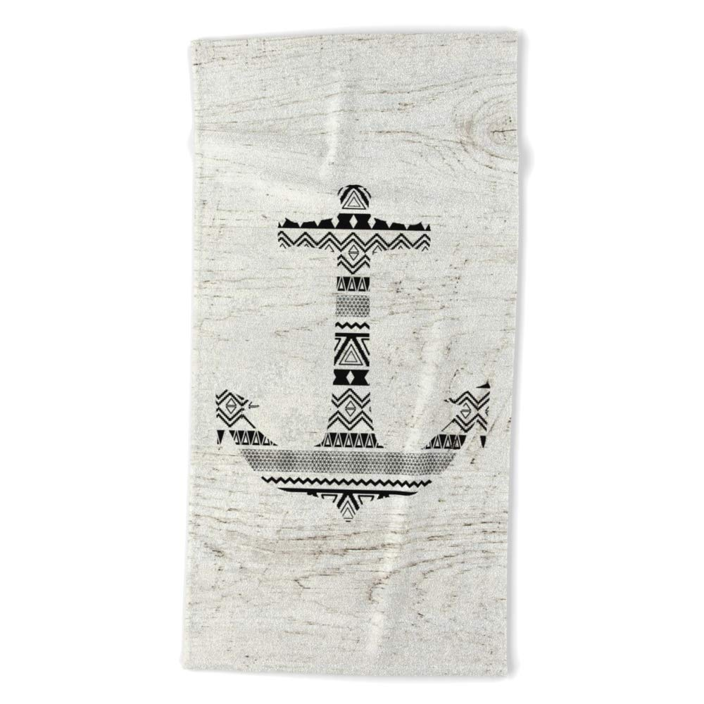 Society6 Beach Towel, Aztec Nautical Anchor Black White Vintage Wood by girlytrend, Polyester-Microfiber Front, White Cotton Terry Back