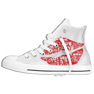 cffb6292f3f684 Funny Sneaker For Men Canvas High Top Shoes Paint Splatter Graffiti Lip  Kisses Graphic White 35