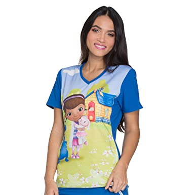 2e30d7a257b Cherokee Tooniforms Women's V-Neck Knit Panel Doc Mcstuffins Print Scrub  Top X-Small