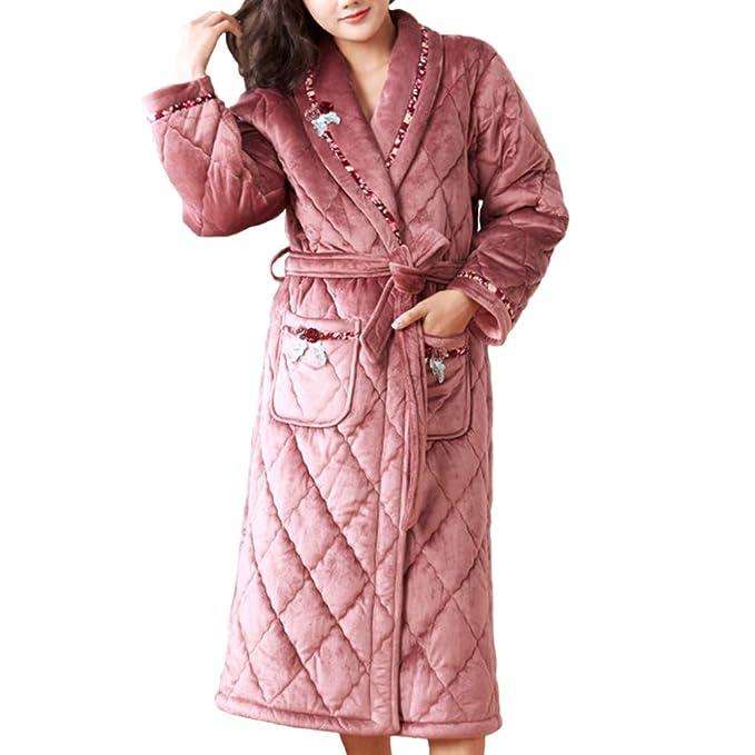 Albornoz Otoño Invierno para Mujer Albornoces Pijamas De Manga Larga De Franela para El Hogar Ropa De Casa Larga Bata: Amazon.es: Ropa y accesorios