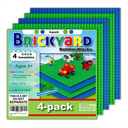 4 Baseplates, 10 x 10 Inches Large Thick Base Plates for Building Bricks