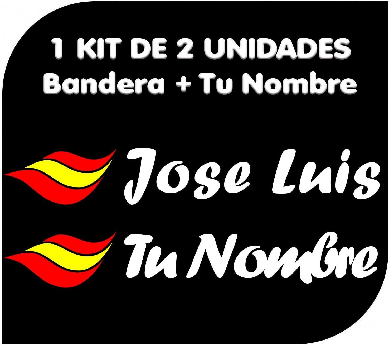 x2 Pegatinas Vinilo Bandera España + tu Nombre - Bici, Casco, Pala ...