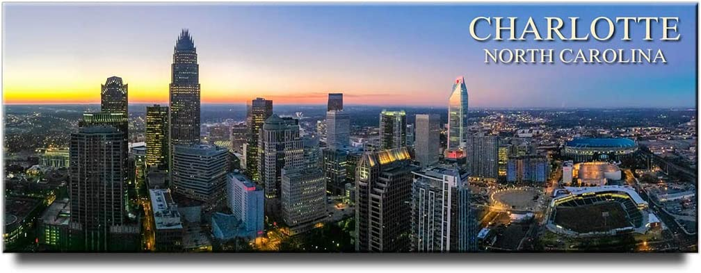 Charlotte panoramic fridge magnet North Carolina travel souvenir