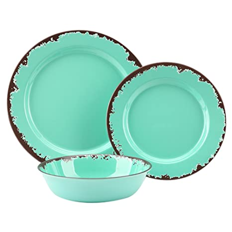 Rustic Melamine Dinnerware Set - 12 Pcs Yinshine Outdoor C&er Dinnerware Dishes Set Service for 4  sc 1 st  Amazon.com & Amazon.com | Rustic Melamine Dinnerware Set - 12 Pcs Yinshine ...