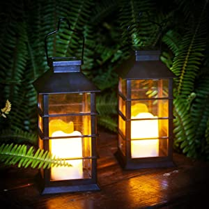 newvivid Solar Lantern with LED Flameless Candles, Solar Powered Lights Outdoor Decorative for Table Backyard Party and Garden Black 2 Packs