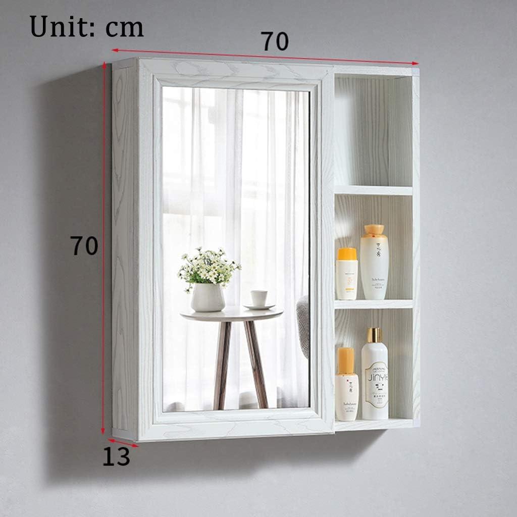 Armarios con espejo Mueble De Baño Espejo Espejo Plateado HD Gabinete De Almacenamiento Estante De Almacenamiento Oculto (Color : Blanco, Size : 70 * 70cm): Amazon.es: Hogar