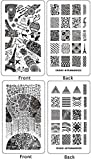 Ejiubas Double-sided Modern Design Geometry Pattern New Nail Art Stamping Plates 2 Pcs