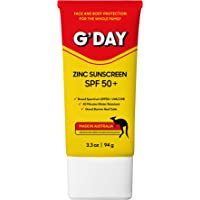 G'Day Zinc Sunscreen SPF 50, Australian Made UVA UVB Broad Spectrum Protection and 40 Min Water Resistant, 94 Grams