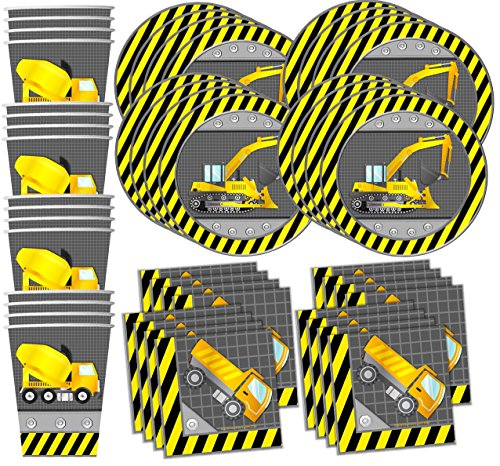 Price comparison product image Construction Trucks Birthday Party Supplies Set Plates Napkins Cups Tableware Kit for 16 by Birthday Galore