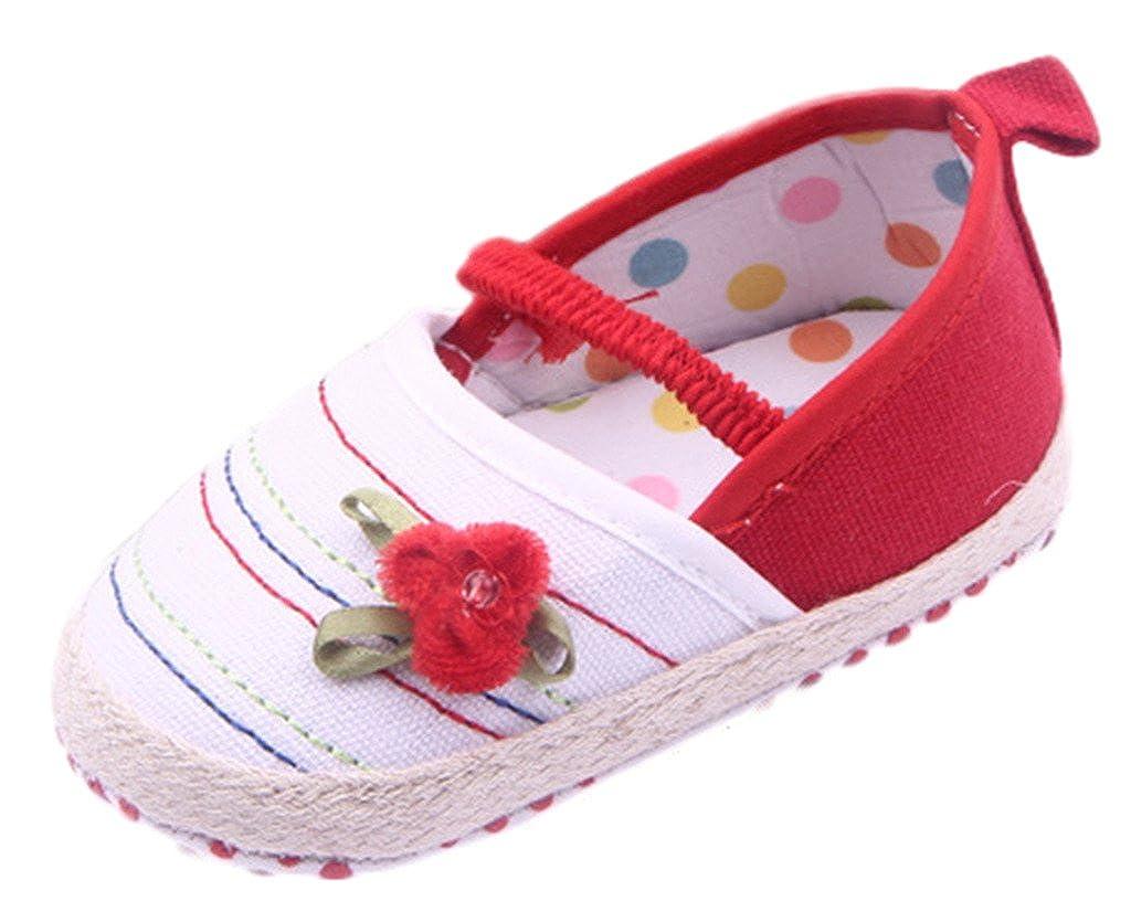 Bigood Chaussure BébéFille Toile Premier Pas Fleur Chaussures Sport Marche